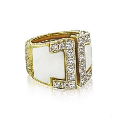 David Webb David Webb 18K Gold White Enamel Diamond Buckle Ring