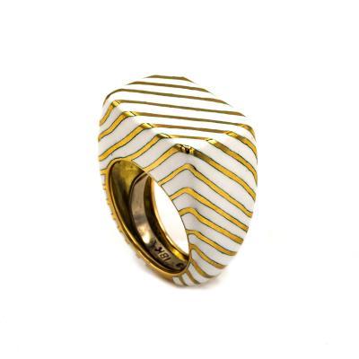 David Webb David Webb 18K Gold White Enamel Ring