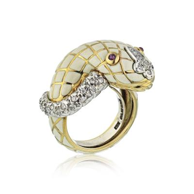 David Webb David Webb 18K Gold White Enamel Serpent Ring