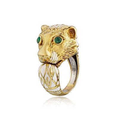 David Webb David Webb 18K Gold with a White Enamel Lion Head Vintage Ring
