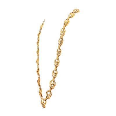 David Webb David Webb 18K Yellow Gold 1970s Heavy Cross Link Necklace