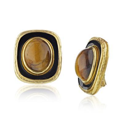 David Webb David Webb 1970s Gold Black Enamel Earrings