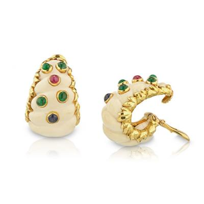 David Webb David Webb 1970s Ivory Sapphires Emeralds Ruby Clip Earrings