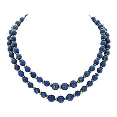 David Webb David Webb Bead Blue Lapis And Green Enamel Long Strand Necklace