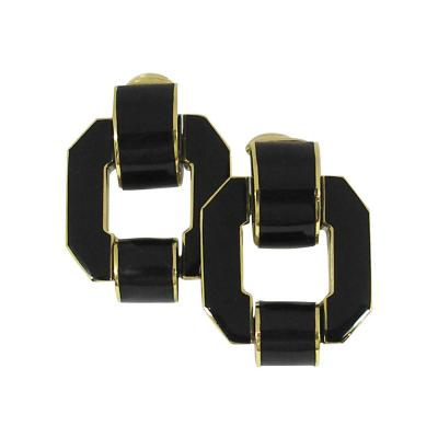 David Webb David Webb Black Enamel Gold Earrings