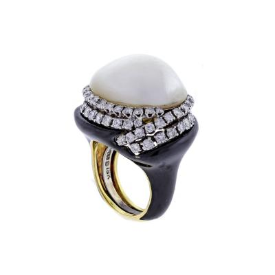 David Webb David Webb Black Enamel Mab Pearl and Diamond Ring