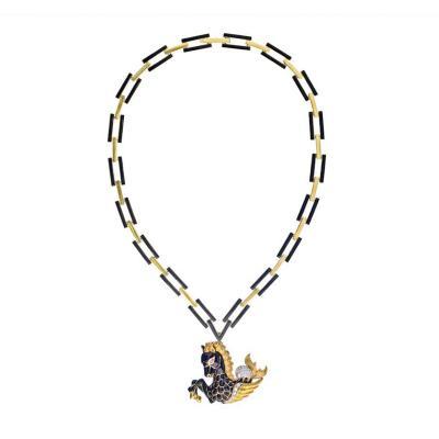 David Webb David Webb Black Enamel Pegasus Clip On A Signature Chain Necklace