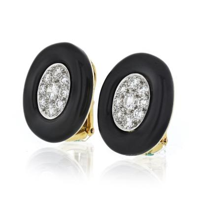 David Webb David Webb Black Enamel and Diamond Clip Earrings