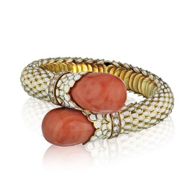 David Webb David Webb Bypass Coral White Enamel Diamond Bracelet