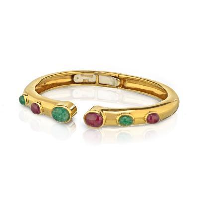 David Webb David Webb Cabochon Ruby and Green Emerald Cuff Bracelet