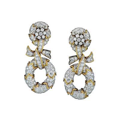 David Webb David Webb Circa 1960 20 Carats Hanging Diamond Earrings