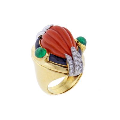 David Webb David Webb Coral Diamond and Emerald Ring