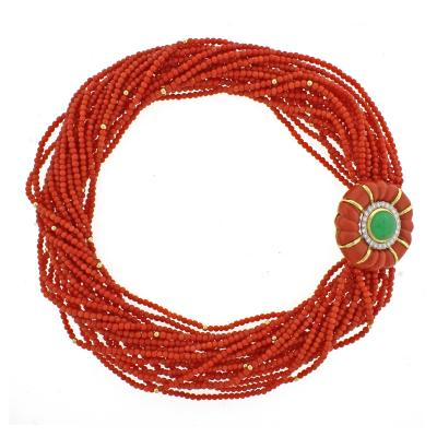 David Webb David Webb Coral Torsade Diamond and Emerald Necklace