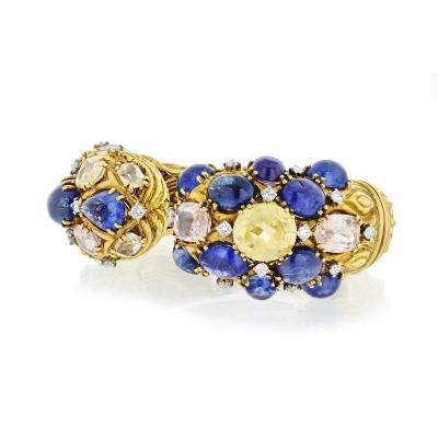 David Webb David Webb Diamond Colored Sapphire Cuff Bracelet
