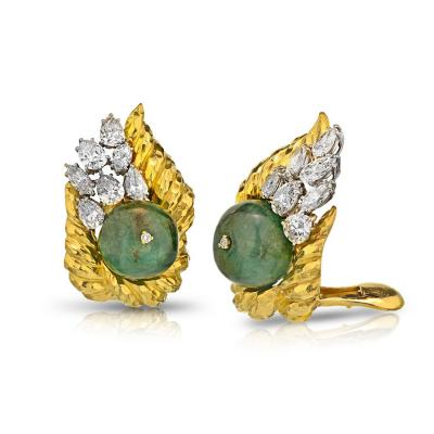 David Webb David Webb Diamond Emerald Bead Clip On Earrings