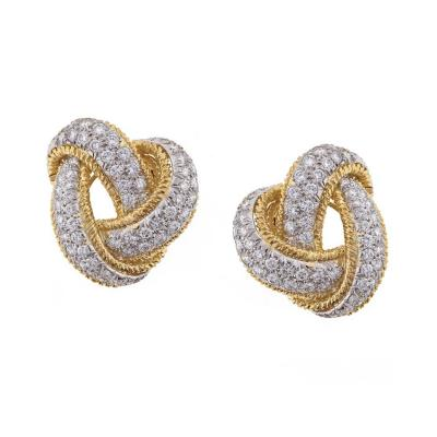 David Webb David Webb Diamond and Gold Knot Earrings