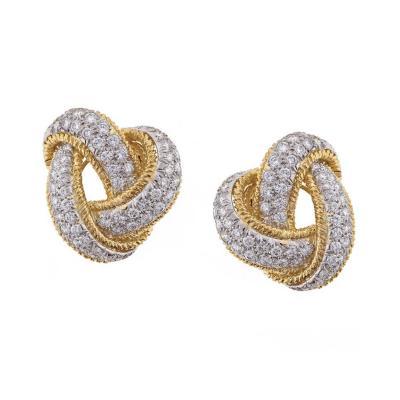 David Webb David Webb Diamond and Gold Knot Earrings