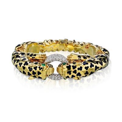 David Webb David Webb Double Head Leopard Diamond Bracelet