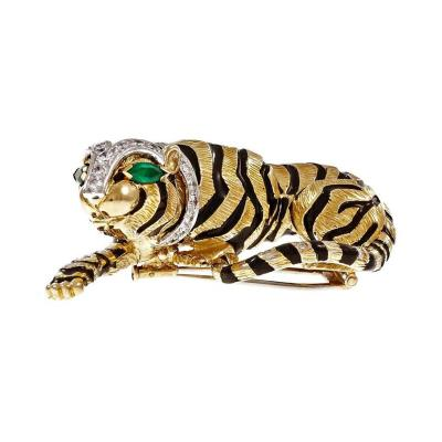 David Webb David Webb Emerald Diamond Gold Platinum Tiger Pin Brooch