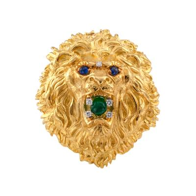 David Webb David Webb Emerald Diamond and Sapphire Lion Head Brooch Pendant