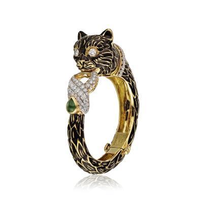 David Webb David Webb Emerald Diamonds Black Enamel Cat Bracelet