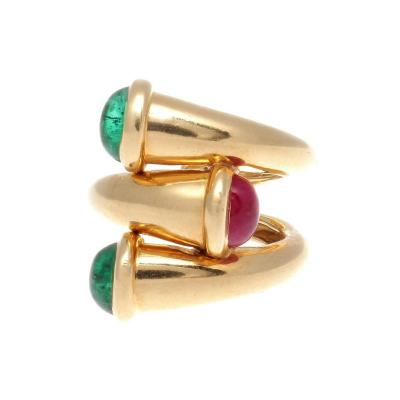David Webb David Webb Emerald Ruby Gold Ring