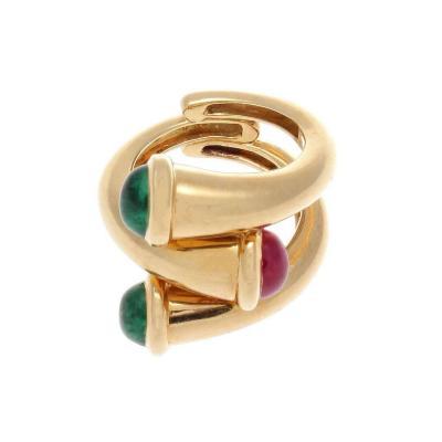 David Webb David Webb Emerald Ruby Gold Ring