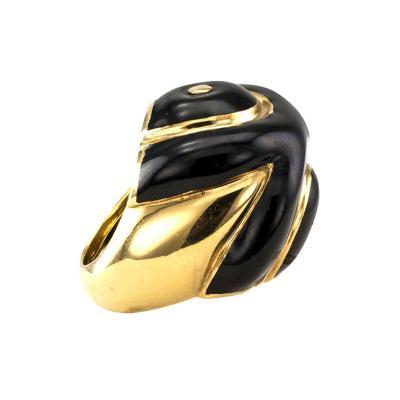 David Webb David Webb Estate Black Enamel Gold Ring