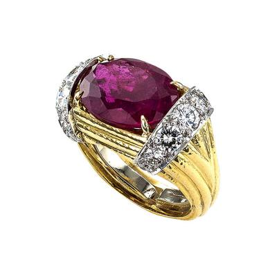 David Webb David Webb Estate Rubelite Tourmaline and Diamond Ring