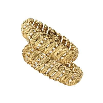 David Webb David Webb Estate Twin Gold and Diamond Link Bracelets