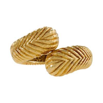 David Webb David Webb Gold Crossover Bracelet Cuff