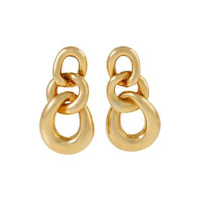 David Webb David Webb Gold Curb Link Door Knocker Earrings