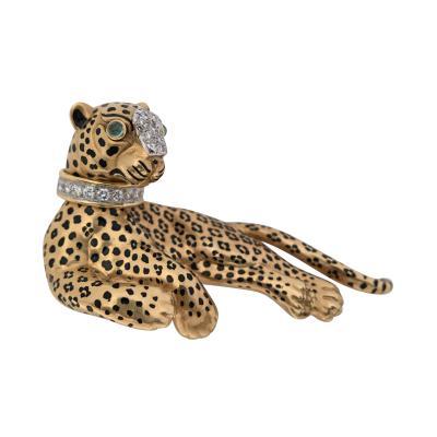David Webb David Webb Gold Enamel Diamond and Emerald Lounging Leopard Brooch
