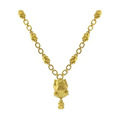 David Webb David Webb Gold Frog Necklace
