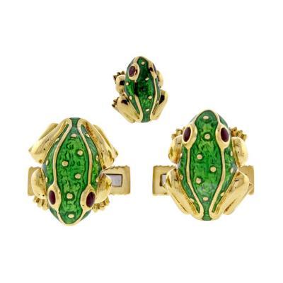 David Webb David Webb Green Enamel Gold Frog Cufflinks
