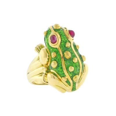 David Webb David Webb Green Enamel Gold Frog Ring