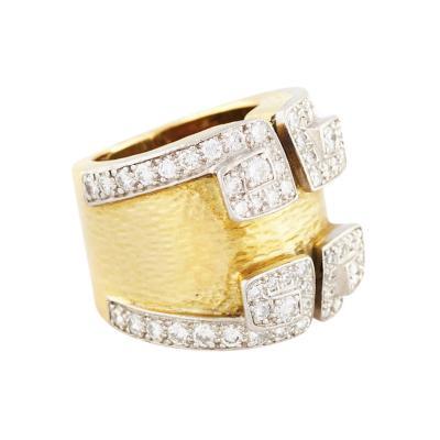 David Webb David Webb Hammered Gold and Diamond Platinum Ring