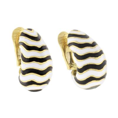 David Webb David Webb Kingdom Collection Zebra Earrings