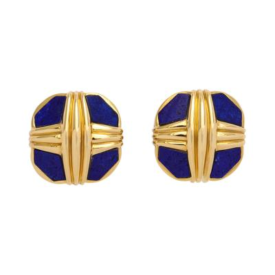 David Webb David Webb Lapis Gold Earclips