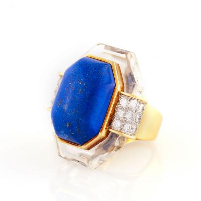 David Webb David Webb Lapis Rock Crystal and Diamond Gold Ring