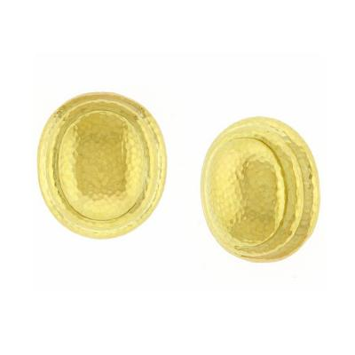 David Webb David Webb Large Gold Oval Hammered Earrings
