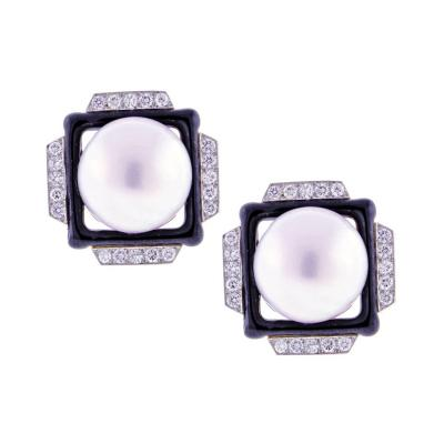 David Webb David Webb Mabe Pearl Diamond Earrings
