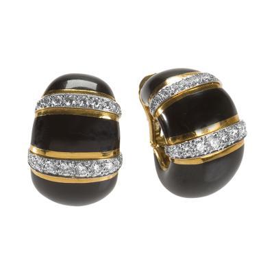 David Webb David Webb Mid 20th Century Diamond Platinum Gold and Enamel Earrings