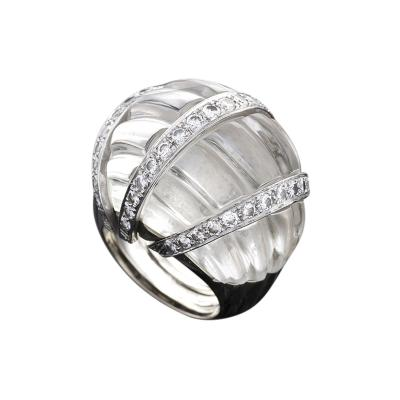 David Webb David Webb Mid 20th Century Rock Crystal Diamond Gold and Platinum Bomb Ring