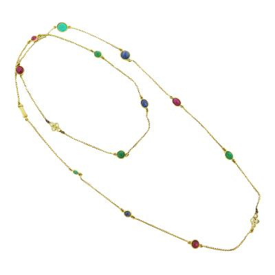 David Webb David Webb Multi Gem Set Long Gold Chain