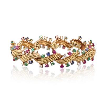 David Webb David Webb Multicolor Sapphire Emerald Diamonds Bracelet
