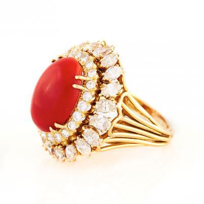 David Webb David Webb Oxblood Coral and Diamond Gold Ring