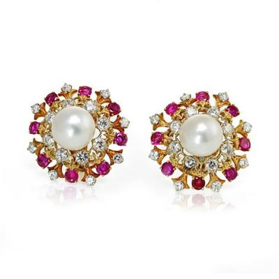 David Webb David Webb Pearl Diamond Ruby Earrings