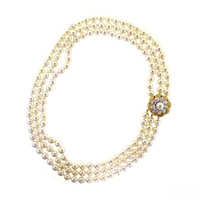 David Webb David Webb Pearl and Diamond Necklace