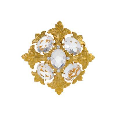 David Webb David Webb Rock Crystal Diamond and Gold Brooch